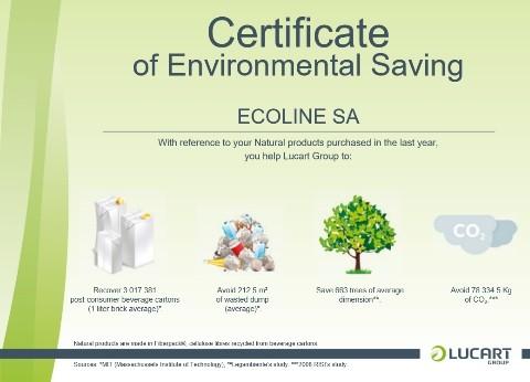 Πιστοποιητικό προσφοράς στο περιβάλλον, αγοράζοντας προϊόντα ECO NATURAL της LUCART